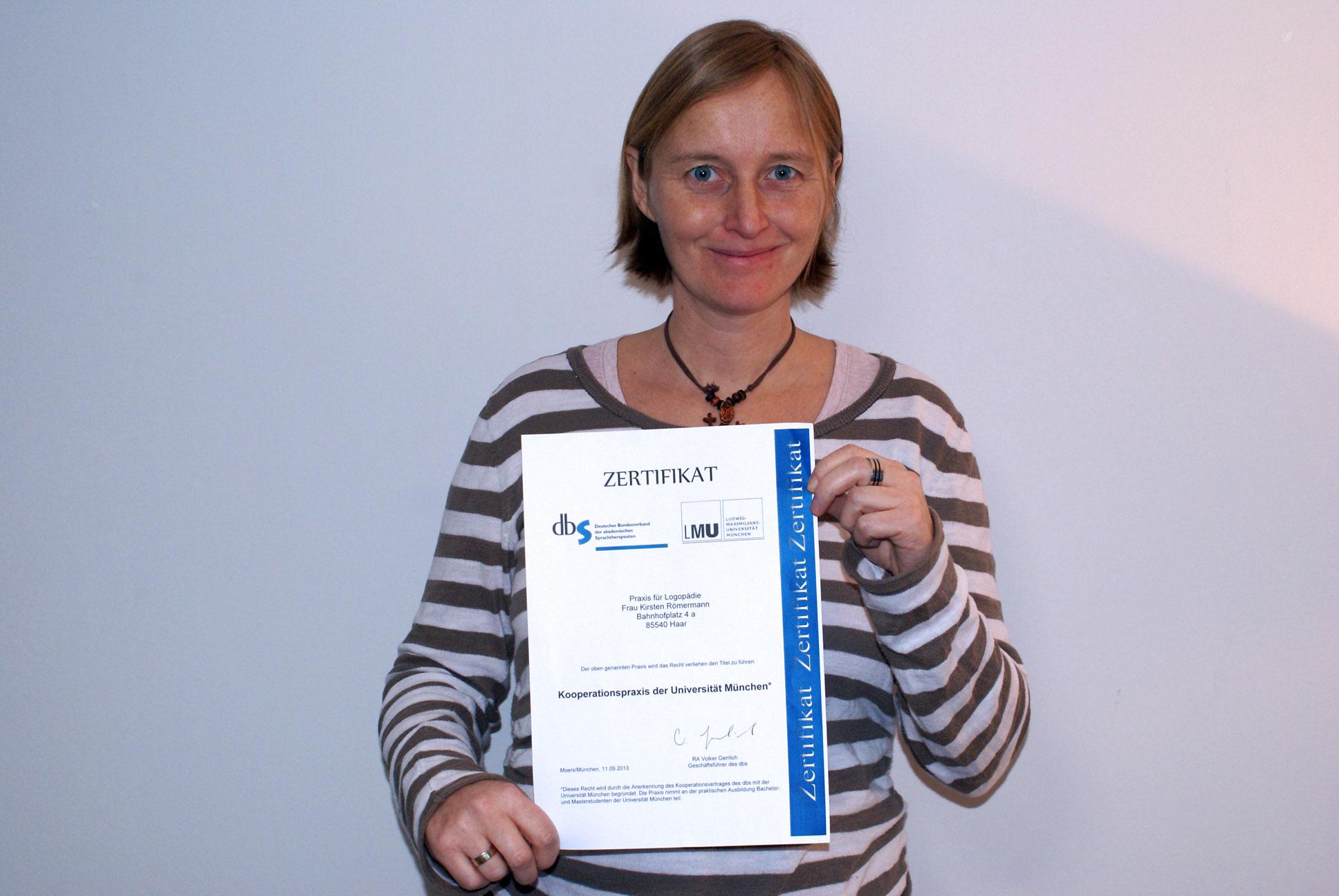 Zertifikat Universität München - Logopädie Römermann aus Haar